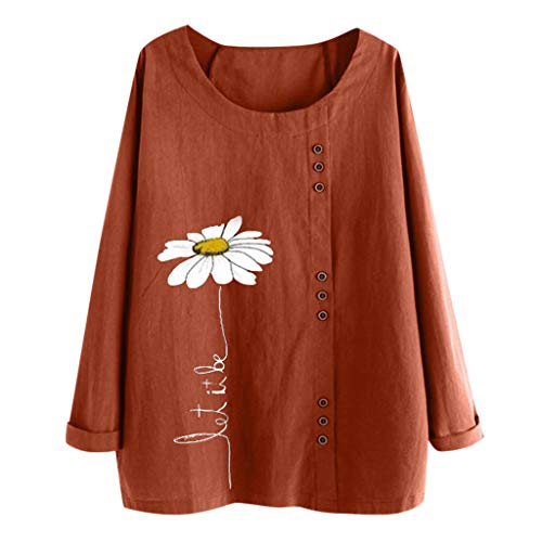 CUCUHAM women Casual Plus Size O-Neck Print Loose Button Long Sleeve Blouse Tops Brown
