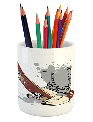 Ambesonne Teen Room Pencil Pen Holder, Skateboard with Boy Feet in The Sneakers and Jeans Illustration, Ceramic Pencil Pen Holder for Desk Office Accessory, 3.6