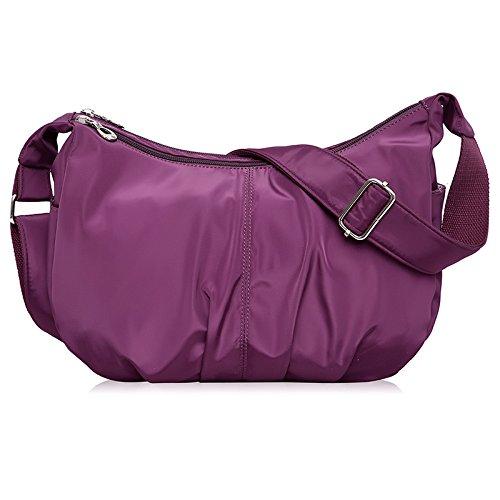 ydezire® Ladies nailon luz peso Cruz Cuerpo Messenger Bag mujeres hombro bolso Satchel Bolso morado