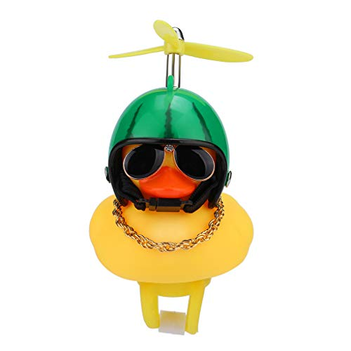 Shan-S Kids Bike Horn,Cute Cartoon Yellow Little Duck Shape Bicycle Lights Bell,Propeller Handlebar Bike Squeeze Horns for Toddler Children & Adults Cycling Motorcycle Light Rubber Duck Helmet Toys (3 Men And A Baby Ghost In Window)