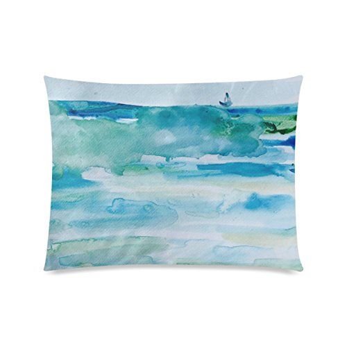 Custom Miami Beach Watercolor Personalized Pillowcases Zippered Pillow Covers 20 by 26 Inches Two (Club 50 Miami Halloween)