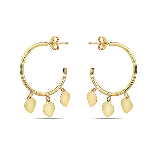 Heart Dangling 3 - Pori Jewelers 14K Solid Gold J- Hoops Dangling Charms - Multiple Styles Available - Trendy Dangling Hoops (3-Heart)