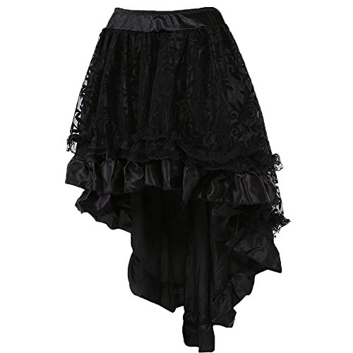 Zooma WOMEN'S Black Lace Asymmetrical High Low Corset Costume Skirt Plus Size (Plus Size Victorian Costumes)