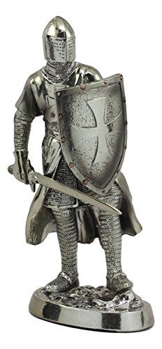 Ebros Medieval Crusader Swordsman Knight Statue 7.5