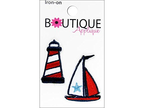 Iron-On Appliques-Lighthouse and Boat 2/Pkg (Lighthouse Applique)