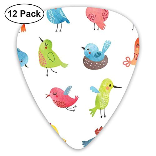 Guitar Picks - Abstract Art Colorful Designs,Colorful Cute Birds Watercolor Effect Humor Funny Mascots Paint Brush Art Kids Design,Unique Guitar Gift,For Bass Electric & Acoustic Guitars-12 Pack -