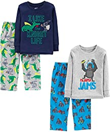 Little Kid and Toddler Boys 4-Piece Pajama Set