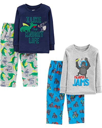 Simple Joys by Carter's Boys' Toddler 4-Piece Pajama Set, Gorilla/Dragons, 3T (Sweater Piece Boys Toddler 3)