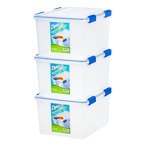 (IRIS USA, Inc. WSB-SD WeatherShield Storage Box, 44 Quart, Clear, 3 Pack)