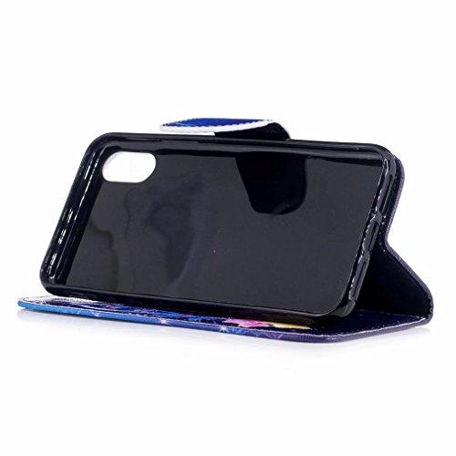 Custodie Apple iPhone X / IPhone 10 / IPhone TenCover, Yiizy Farfalla Colorata Design Custodia Portafoglio Silicone Gomma Flip Cover Case PU Pelle Cuoio Copertura Case Slot Schede Cavalletto Stile Lib