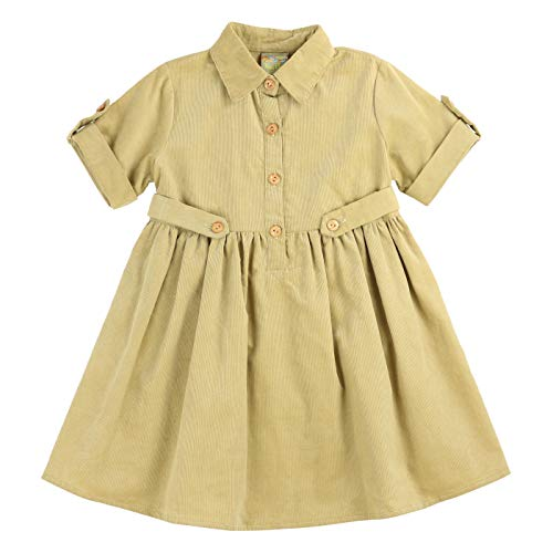 MARIA ELENA - Toddlers and Girls Corduroy Presley Harper Shirt Dress in Light Khaki 7/8