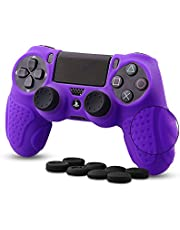 CHIN FAI Silicone Skin compatible with PS4 controller, Anti-slip Silicone Cover Protector Case compatible with Sony PS4/PS4 Slim/PS4 Pro Controller with 8 Thumb Grips