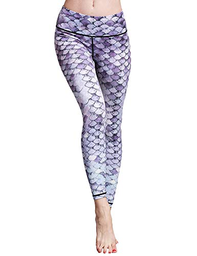 Hioinieiy Womens Mermaid Fish Scale Printed Leggings Women's High Waisted Workout Sports Spandex Cute Patterned Yoga Pants for Women Purple M ()