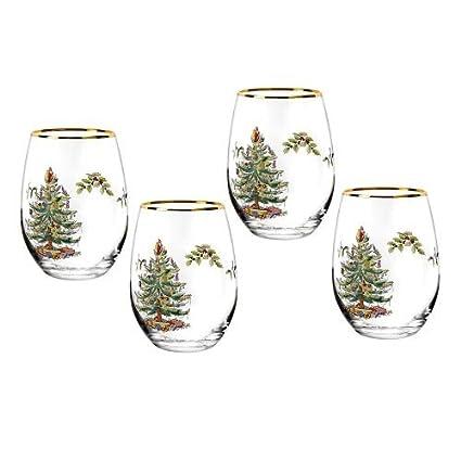 Spode Christmas Tree Stemless Wine Glasses (Set of 4) - Amazon.com: Spode Christmas Tree Stemless Wine Glasses (Set Of 4