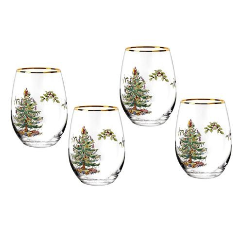 Spode Christmas Tree Stemless Wine Glasses (Set of 4)