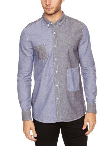 Bellfield - Camisa de manga larga para hombre Gris/Azul