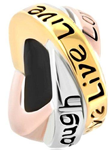 Q&Charms New Trinity Ring Live Love Laugh Charm Sale Cheap Beads Fit Pandora Chamilia Charms Bracelet