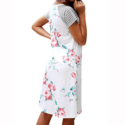 Women Striped Short Sleeve Round Neck Floral Printed A-line Midi Dress White