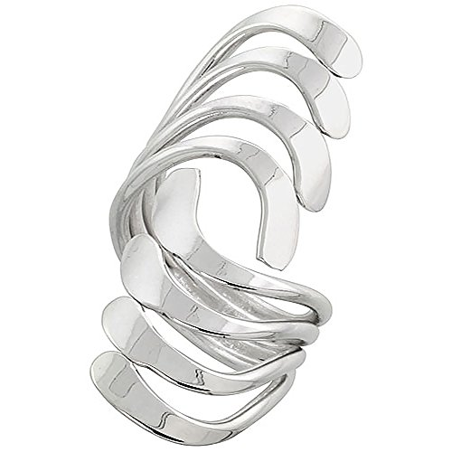 Sterling Silver Wire Wrap Ring for Women Long Waves Bypass Handmade 1 1/2 inch long, size 8