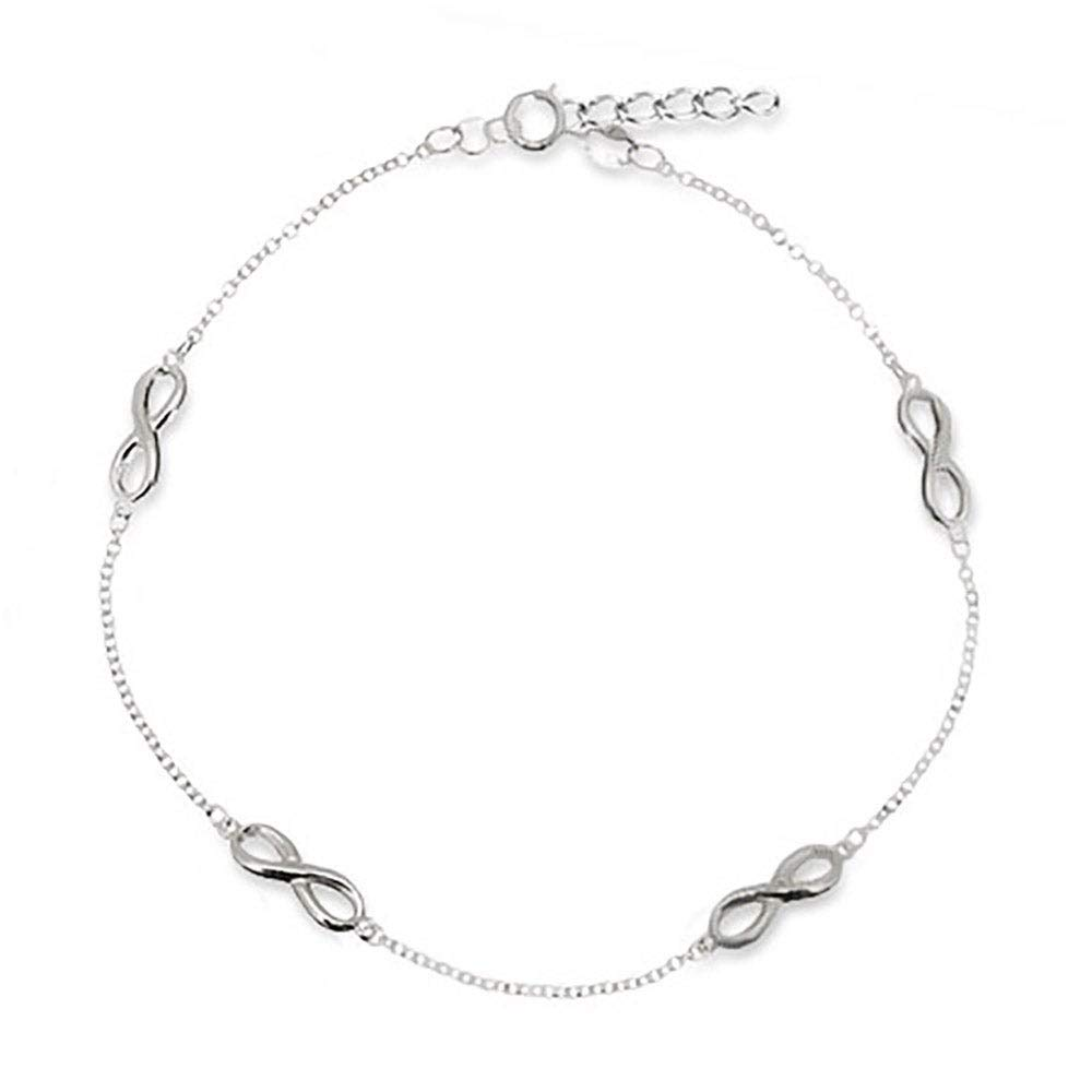 Sterling Silver Infinity Anklet 9 to 10 long