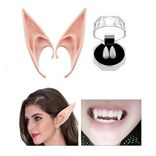 Luxital Vampire Teeth Fangs Elf Ears Dentures Props Halloween Costume Fairy Cosplay Zombie False Tooth Ears... Black