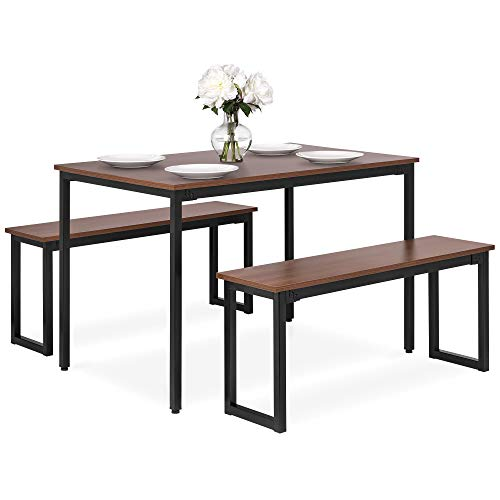 Best Choice Products 3-Piece 4ft Modern Rectangular Soho Dining Table Set w/ 2 Benches, Wood Finish Tabletop, Steel Frame