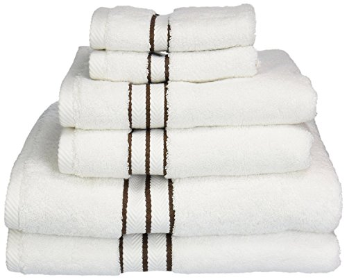 Superior Hotel Collection 900 Gram, Long-Staple Combed Cotton 6 Piece Towel Set, White with Chocolate Border