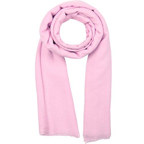 KASHFAB Kashmir Womens Mens Winter Fashion Solid Scarf, Wool Silk Stole, Soft Long Shawl, Warm Pashmina Parfait Pink