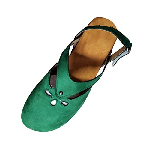 Women Closed Toe Roman Sandals Slingback Ankle Strap Comfortable Sole Cutout Vintage Flat Shoes by Lowprofile Green