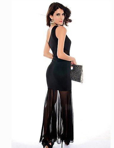 PU&PU Robe Aux femmes Moulante Sexy / Soirée , Couleur Pleine Une Epaule Maxi Polyester , black-one-size , black-one-size