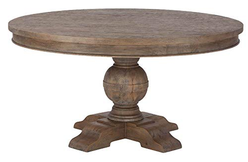 (World Interiors Round Dining Table in Weathered Teak Finish)