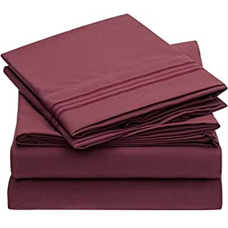 Mellanni Bed Sheet Set - Brushed Microfiber 1800 Bedding - Wrinkle, Fade, Stain Resistant - Hypoallergenic - 4 Piece (King, Burgundy) (B00NQDGLTW) | Amazon price tracker / tracking, Amazon price history charts, Amazon price watches, Amazon price drop alerts