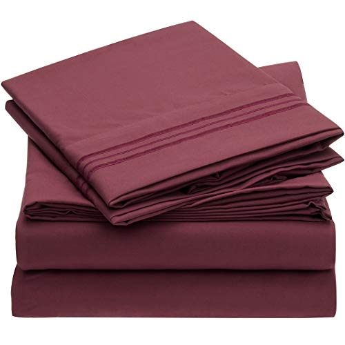 Mellanni 3pcs Bed Sheet Set Brushed Microfiber 1800 Bedding - Wrinkle, Fade, Stain Resistant - Hypoallergenic - 3 Piece - 1 Fitted Sheet and 2 Pillowcases (Queen, Burgundy)
