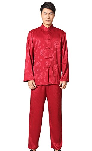 AvaCostume Men's Chinese Satin Kung Fu (Kungfu) Tai Chi Uniform X-Large Red