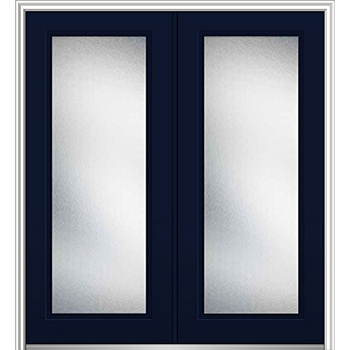 National Door Z0343551L Left Hand In-Swing Exterior Prehung Door, Micro Granite, Full Lite, Steel, 64'', 80'' Height, Naval by National Door Company