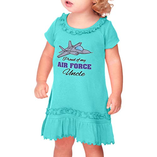 Cute Rascals Proud of My Air Force Uncle Taped Neck Toddler Short Sleeve Girl Ruffle Cotton Sunflower Dress - Caribbean Blue, 3T