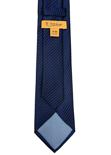 Retreez Woven Boy's Tie with Stripe Textured (8-10 years) - Navy Blue by Retreez (Image #3)