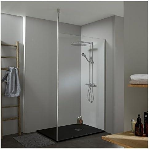 Mampara de ducha 120 x 200 cm, con mástil suelo/techo: Amazon.es ...