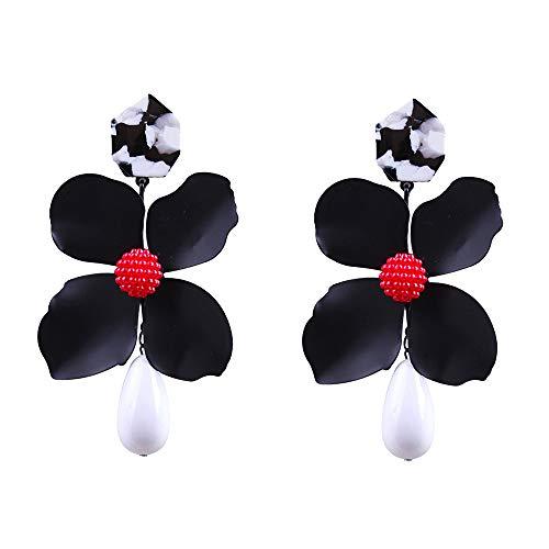 (Flower Earring Fashion Gift Women Resin Dangle Jewelry Chic Pearl Drop Stud Earring (Black))