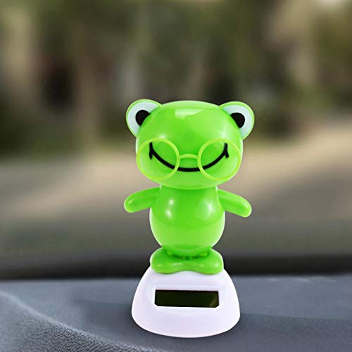 Misszhang-US Cute Swinging Cartoon Frog Solar Power Car Interior Dashboard Ornament Gift - Green