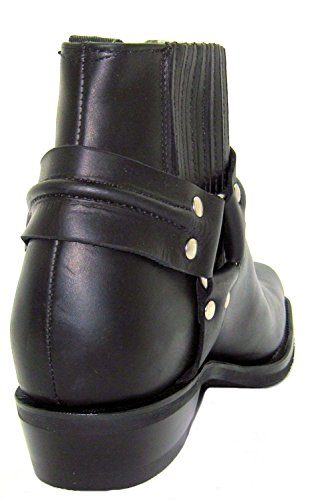 Grinders Renegade Lo Black Unisex Leather Boot Cowboy Western Biker Ankle Boots 1Z1xIBEz