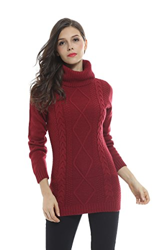 Sofishie Cowl Neck Cable Knit Pullover Sweater - Burgundy - Medium (Maternity Pullover)