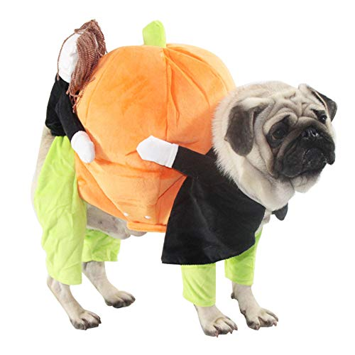 QBLEEV Pet Costume Carrying Pumpkin Dog Halloween Suit Christmas Apparel Clothes Funny Puppy Cosplay Outfit Jacket for Small Medium Dogs and Cats