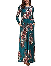Womens Long Sleeve Maxi Dress Floral Print Casual Long...