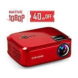 "Crenova Projector Native 1080p LED Video Projector, 5500 Lux HDMI Projector with 200"" Image Display Compatible with TV Stick, HDMI, VGA, USB, Laptop, Phone for Home Theater: more info"