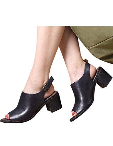 Youlee Mujeres Verano De tacón alto Sandalias Cuero Zapatos Gris profundo