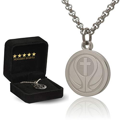 Prayer Necklace Crafted in Stainless Steel with Luke 1:37 on The Back, Presented in a Black Velvet Box Available in Baseball, Football, Hockey, Racing, Soccer, Volleyball and Basketball