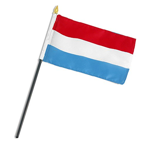 ALBATROS Luxembourg 4 inch x 6 inch Flag with Stick for Desk, Table for Home and Parades, Official Party, All Weather Indoors Outdoors