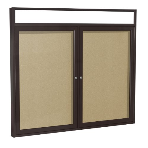 Illuminated Cork Board - Ghent 3 x 4 Inches Outdoor Bronze Frame with Illuminated Headliner Enclosed Vinyl Bulletin Board, Caramel , Made in the USA