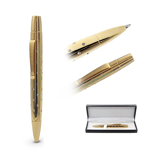 Gold Ballpoint Pen Retractable Rollerball Pen in Gift Box, Classic 24K Gold Plated & Palladium Trim Inlaid with Top Zircon Stones / Artificial Diamonds by 2cl direct - - Brands In Palladium